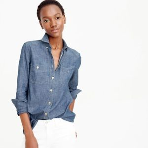J Crew Japanese Selvage Chambray button down top